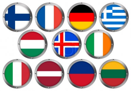 Flags in Round Metal Frame - Europe 2