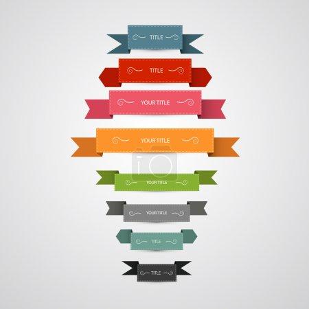 Retro vector labels, ribbons set