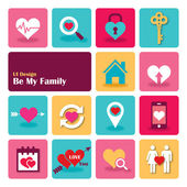 Love Sweet Home Flat UI design trend set icons vector illustration