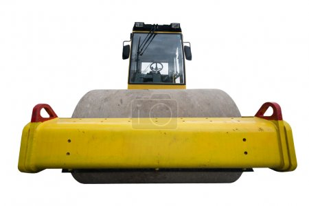 Rear view of huge isolated yellow compactor truck