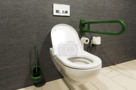 Photo for Extreme wide angle of a white toilet for disabled persons - Royalty Free Image
