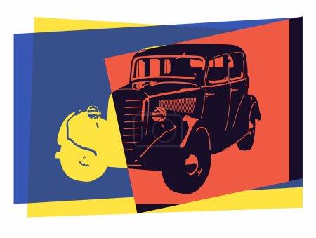 Illustration for Vintage car pop art - Royalty Free Image
