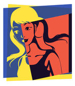 Portrait of young girl with pigtails Pop art