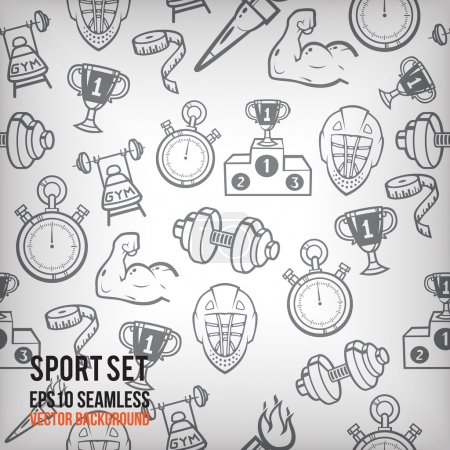 sports seamless background. Sports equipment colored pattern.
