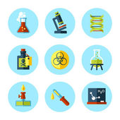 Vector chemistry icon set in modern flat colored style