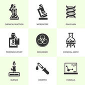 Set of black chemistry icons Vector chemistry stuff and symbols in flat simple style