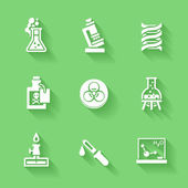 Set of white chemistry icons Vector chemistry stuff and symbols in flat modern style with shadows