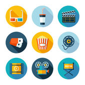 Set of cinema icons Vector cinema and movie stuff in flat modern style
