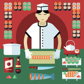 Vector illustration of sushi master and Japanese food stuff Icons of cooking tools and sushi rolls and seafood