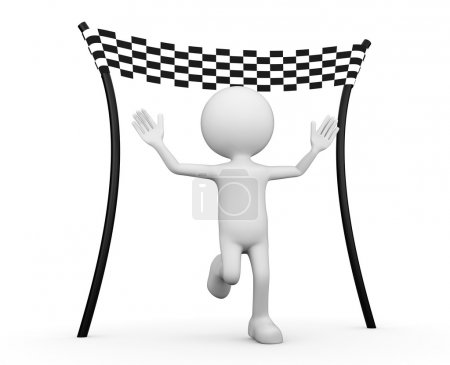 White 3d human - reaching the finishing line