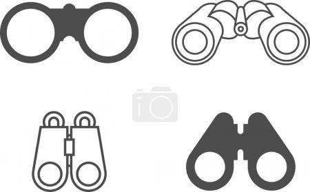 Vector Binocular Icon Symbol Set
