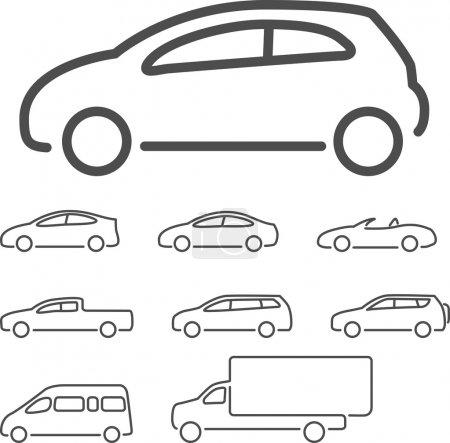 Illustration pour Ensemble d'icônes de voiture vectorielle - image libre de droit