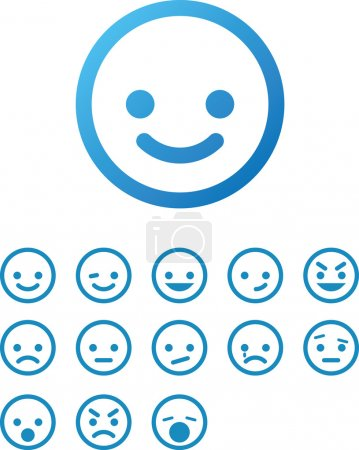 Illustration for Vector Smile Icon Set - Royalty Free Image
