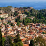 Top view of Mediterranean attractive tourist town ...
