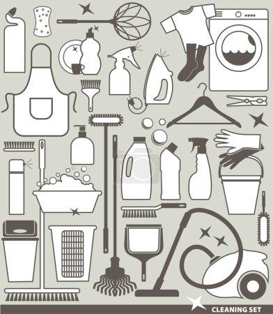 Illustration pour Icône ensemble de nettoyage - image libre de droit