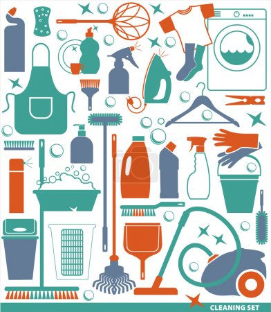 Cleaning icon set.