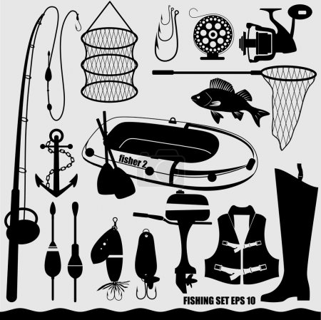Fishing icon set.