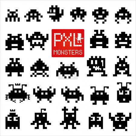 Set of cheerful and kind pixel monsters.