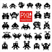 Set of cheerful and kind pixel monsters