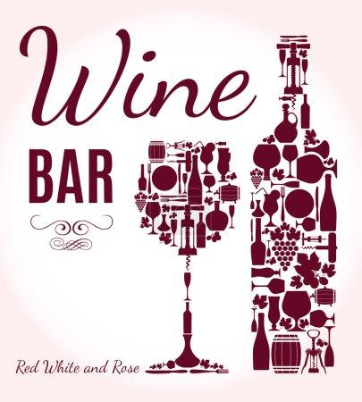 Illustration pour Menu de vin fond . - image libre de droit