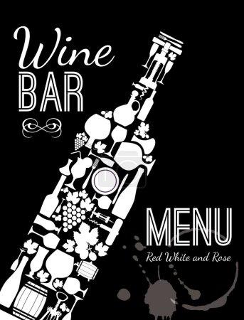 Illustration pour Carte de menu vin - image libre de droit
