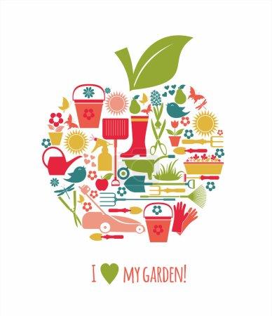 Garden icons illustration