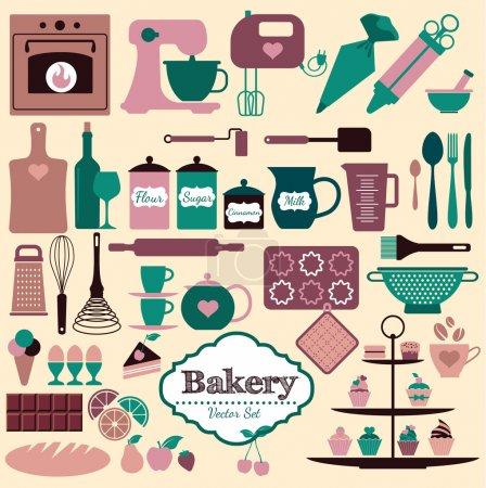 Illustration pour Ensemble d'icônes de boulangerie. Eléments vectoriels pour votre design . - image libre de droit