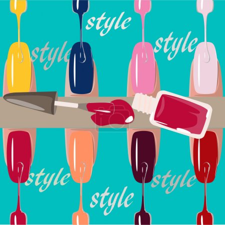 Set of multicolored nail polish brushes. vector