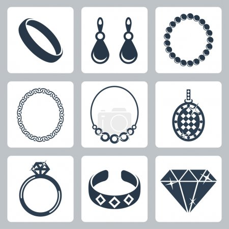 Photo for Vector isolated jewelry icons set - Royalty Free Image