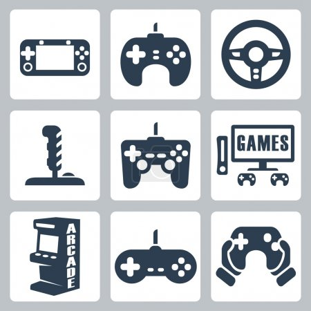 Vector video games icons set