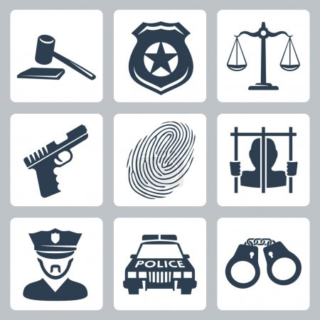 Vector isolated criminal and police icons set