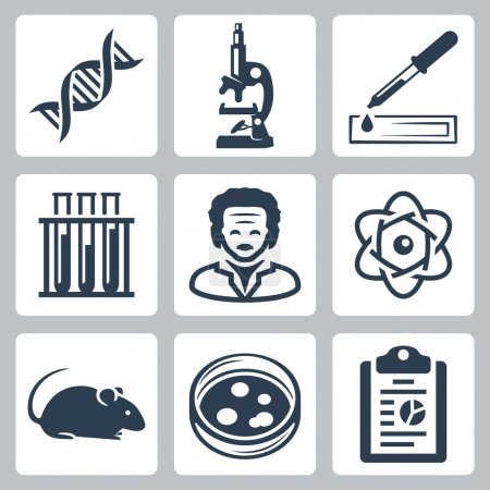 Vector isolated laboratory icons set...