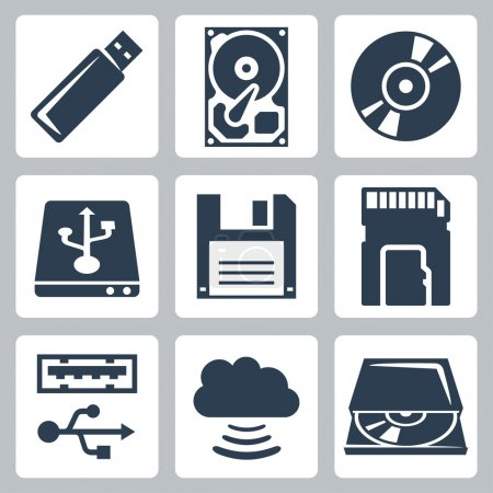 Vector data storage icons set...