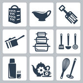 Vector isolated kitchenware icons set: grater, sauceboat, corkscrew, scoop, bakeware, spatula, ladle, skimmer, thermos, tea set, whisk, masher