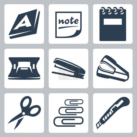 Vector office stationery icons set: ream, note, writing pad, hole punch, stapler, destapler, scissors, paper clips, utility knife