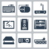 Vector hardware icons set: keyboard computer mouse modem graphics tablet UPS multifunction device scanner projector surge filter
