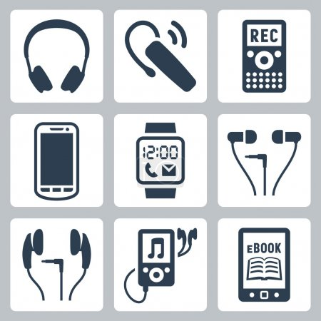 Vector gadgets icons set: headphones, wireless headset, dictaphone, smartphone, smart watch, MP3 player, ebook reader