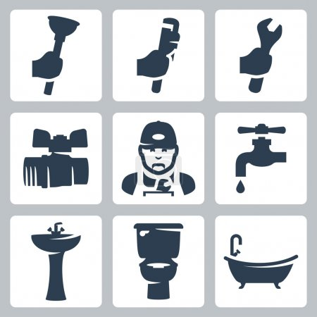 Vector plumbing icons set: plunger, adjustable wre...