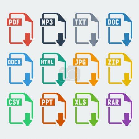 Illustration for Vector file extensions icons set: pdf, mp3, txt, doc, docx, html, jpg, zip, csv, ppt, xls, rar - Royalty Free Image