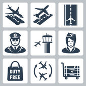 Vector airport icons set: landing takeoff runway pilot airfield control tower stewardess shopping bag 'duty free' transfer luggage cart