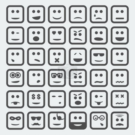 Illustration for Vector cartoon square faces set - Royalty Free Image