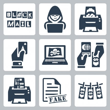 Vector criminal activity icons set: blackmail, hacking, counterfeiting, cardsharping, piracy, passport forgery, skimming, forgery of documents, money laundering