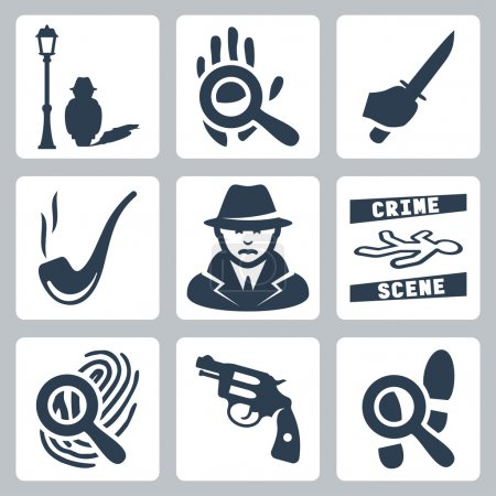 Vector detective icons set: man under street lamp, magnifier and handprint, knife in hand, smoking pipe, detective, crime scene, magnifier and fingerprint, revolver, magnifier and footprints