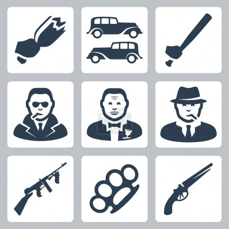 Vector isolated mafia icons set
