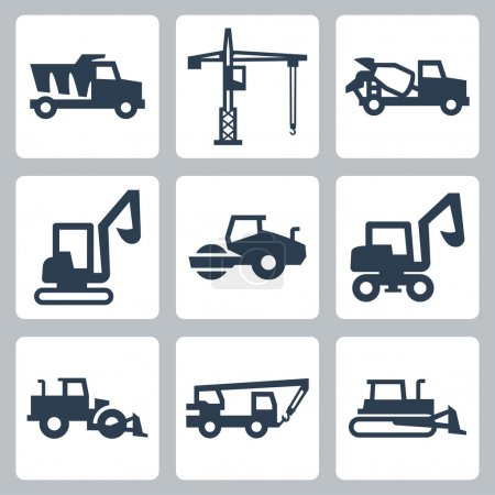 Vector construction equipment icons set
