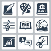 Vector school subjects icons set: literature art history music english PE economics foreign languages crafts