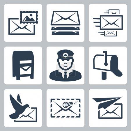 Illustration pour Jeu d'icônes vectorielles post service - image libre de droit