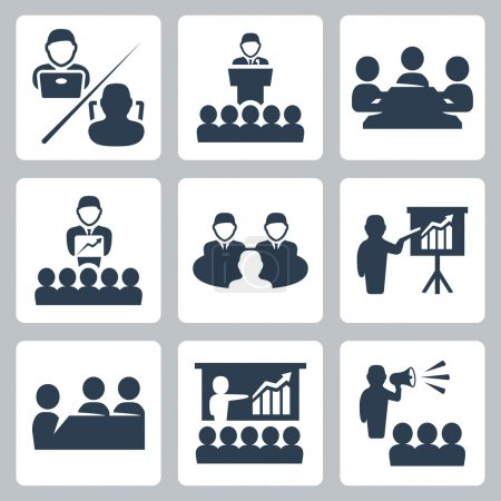Illustration for Vector conference, meeting icons set - Royalty Free Image