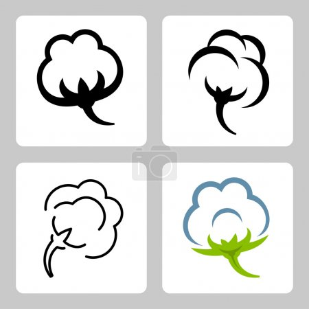 Illustration for Vector cotton icons set - Royalty Free Image