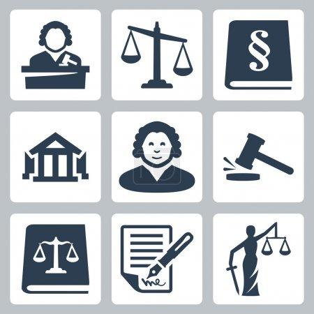 Illustration pour Ensemble d'icônes de droit vectoriel et de justice - image libre de droit